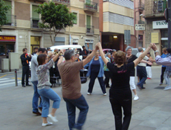 sardana dancing in plaza of Poble Sec