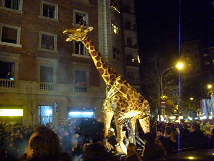 Large giraffe float - Els Tres Tombs.