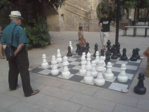lifesize chess board in Raval, Barcelona